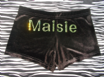Velour personalised shorts personalised in GREEN rhinestone double font